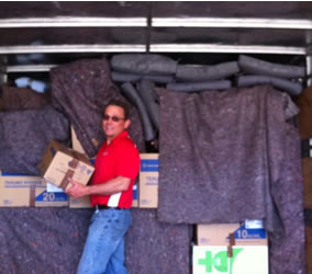 Packing boxes in the truck